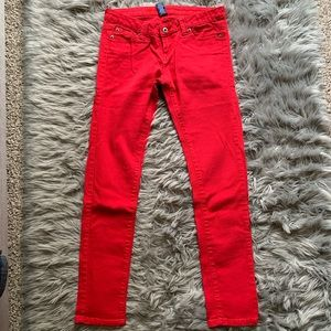 Low Rise Red Skinny Jeans